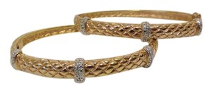 Technibond 3 Stations Diamond-Accented Basket Weave Bracelet Set