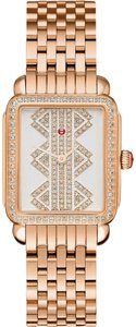 Michele New Deco ll Mid Rose Gold, Pattern Diamond Dial MWW06I000021 Watch