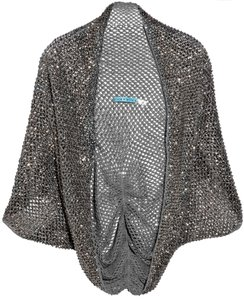 Alice + Olivia & Sequined Embellished Shrug Evening Accessories Top grey