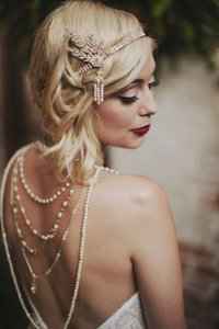1920's Art Deco Great Gatsby Inspired Crystal Gold Leaf Headpiece