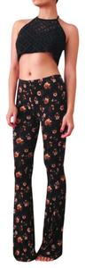 Forever 21 Floral Casual Wide Leg Pants Black