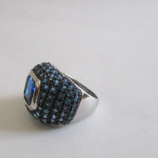 Real Collectibles by Adrienne Real Collectibles .925 Sterling Silver Square Cut Blue Pave Dome Ring Size 9 Image 1