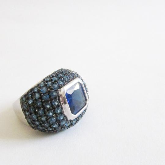 Real Collectibles by Adrienne Real Collectibles .925 Sterling Silver Square Cut Blue Pave Dome Ring Size 9 Image 2