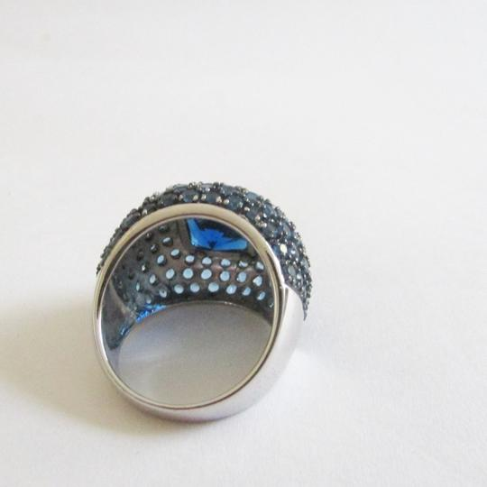 Real Collectibles by Adrienne Real Collectibles .925 Sterling Silver Square Cut Blue Pave Dome Ring Size 9 Image 3