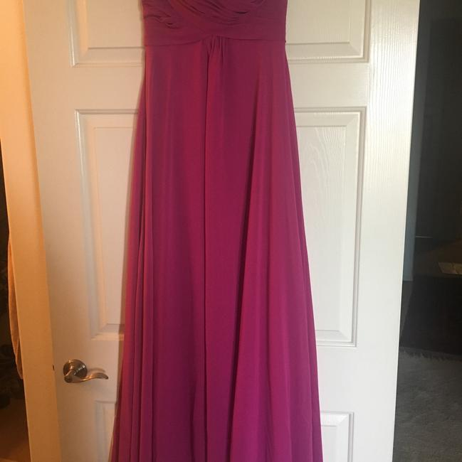 Item - Fuchsia Polyester Formal Bridesmaid/Mob Dress Size 8 (M)