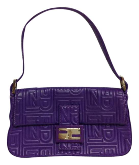 Item - Quilted Purple Leather Baguette
