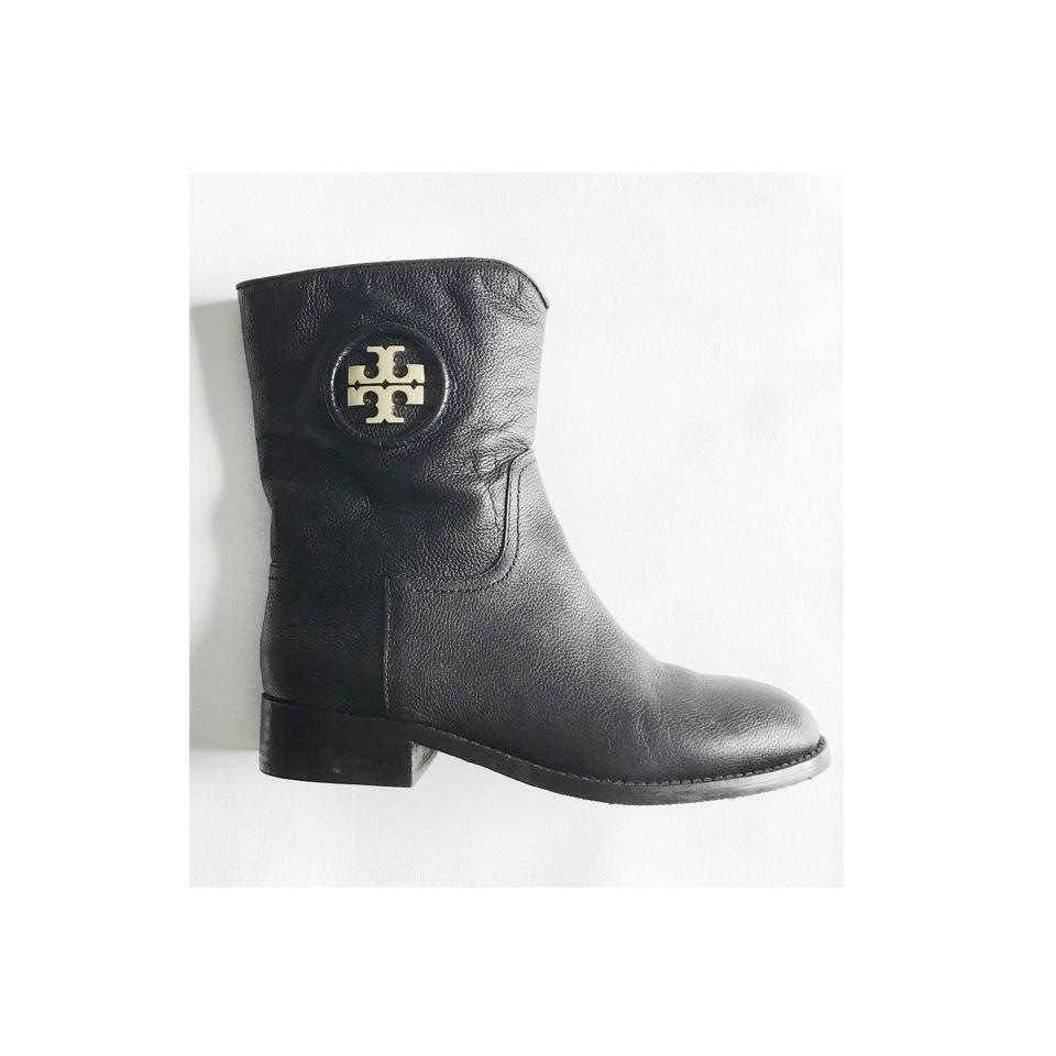 ea8e7c296ce Tory Burch Black Gold Leather Logo Short Junction Boots Booties. Size  US 5  ...