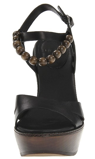 UGG Boots Leather Strappy Sandal Black Platforms