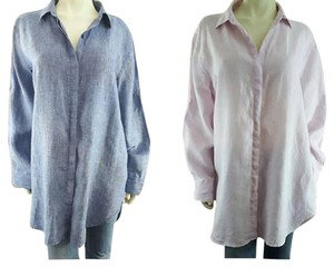 DKNY Linen Button Down Shirt Blue and Pink