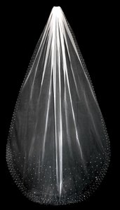 White Rhinestone Scatter Cathedral Length Wedding Veil