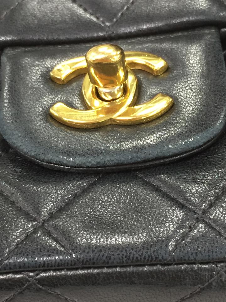 f6907139f76 Chanel Classic Flap Vintage Classic Double Quilted Medium Black Lambskin  Shoulder Bag