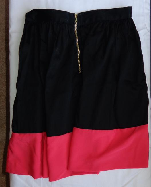 Topshop Color-blocking Skirt Black and Coral-Red