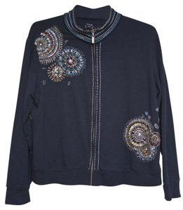 Chico's Beaded Embroidered Navy Jacket