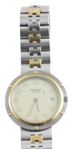 Hermès Hermes Two Tone Clipper Watch Ladies Unisex Stainless 18k Plated 30mm
