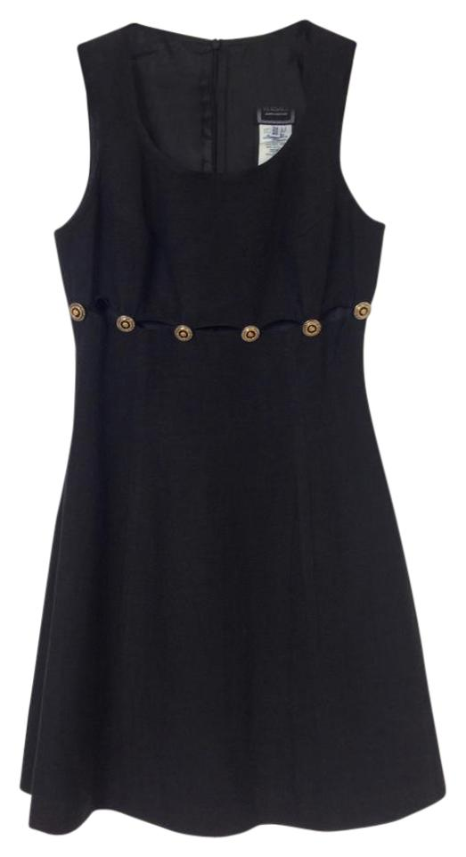 378c833ad2bb Versace Black Cut-out Medusa Button Short Night Out Dress Size 2 (XS ...