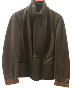 Agnona Leather Leather Brown Leather Jacket