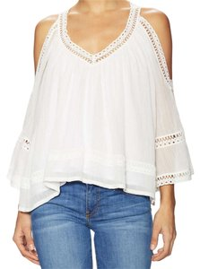 Rebecca Minkoff Sheer Bohemian Cold Shoulder Flowy Top White