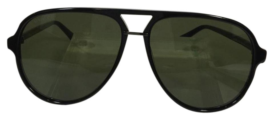 6d76f45d0ee Gucci Authentic Aviator GG0015S 001 Black Green Silver Logo On Temple  Sunglasses Image 0 ...