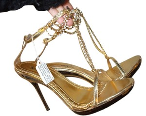 Heels Stilettos Strappy Metallic Gold and Rhinestone Sandals