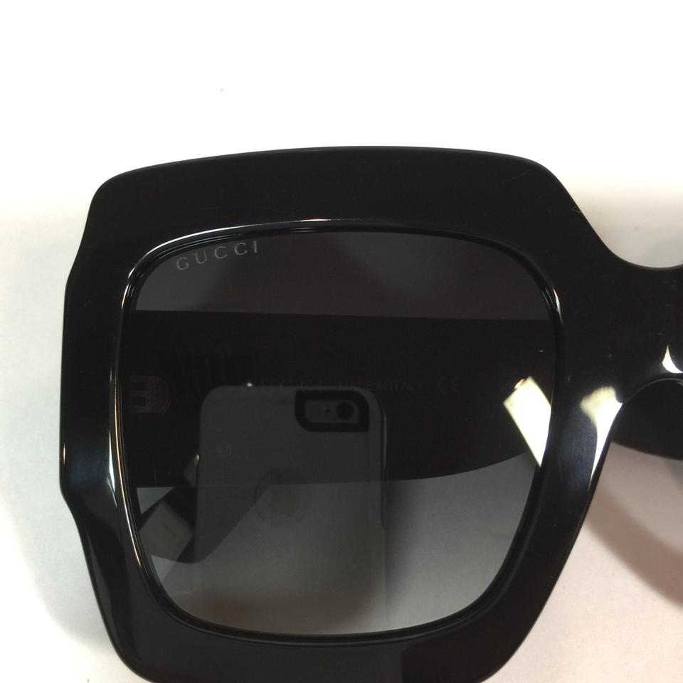 dc8d8ae672 Gucci Authentic Oversized GG0102S 001 Black Square Gold Logo On Temple  Sunglasses Image 7. 12345678