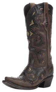 Lucchese Scarlet Stud Leather Cowboy Studded Brown Cafe Boots