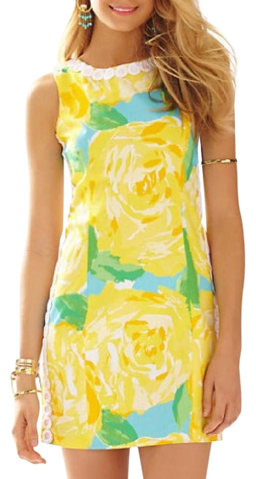 Lilly Pulitzer First Impressions - Yellow Mila Lace Detail Shift Casual  Dress 512afd572
