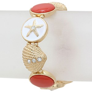 Luxe Crystal Sea Life Starfish Seashell Stretch Bracelet