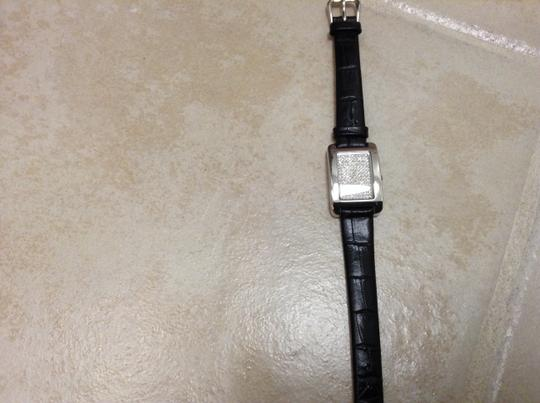 Fossil Fossil Women's Black Croc Leather Band with CZ Square Dial.