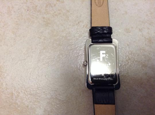 Fossil Fossil Women's Black Croc Leather Band with CZ Square Dial. Image 2