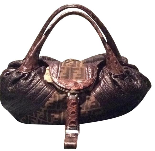 Item - Spy Zucca Brown Leather with Fabric Shoulder Bag