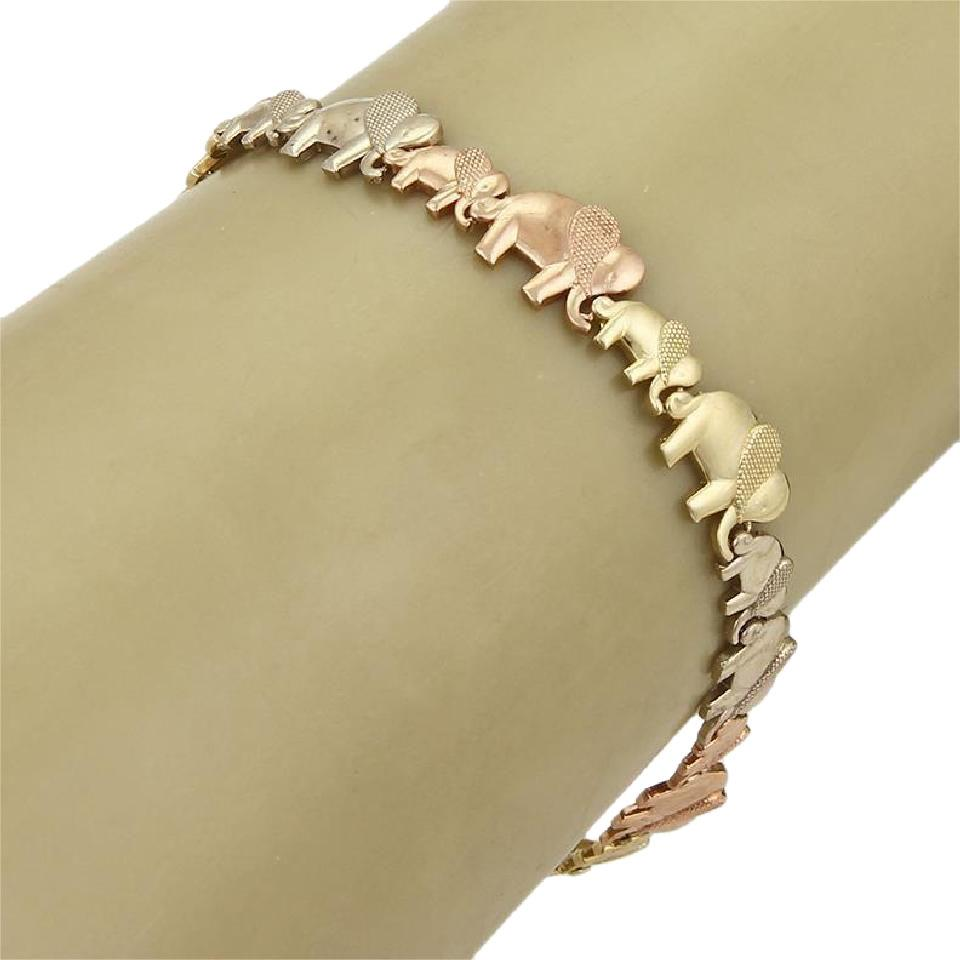 None 14k Tri Color Gold Mother Baby Elephant Link Bracelet