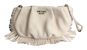 Prada Clutch Fringe Leather Wristlet in Ivory