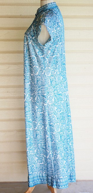 Blue Maxi Dress by Vintage Maxi Asian Oriental Floral Festival