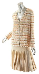 Missoni MISSONI V-Neck Striped Cardigan w/ Knee Length Fit & Flare Skirt