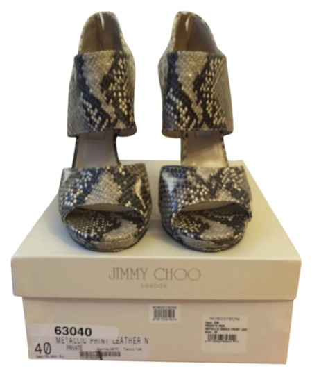 Jimmy Choo Metallic Snake Print Leather Sandals