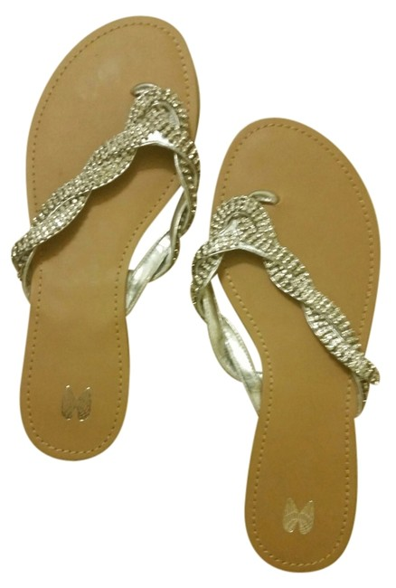 Item - Tan and Silver Rhinestone Sandals-great For Weddings Or Prom Sandals Size US 11 Regular (M, B)