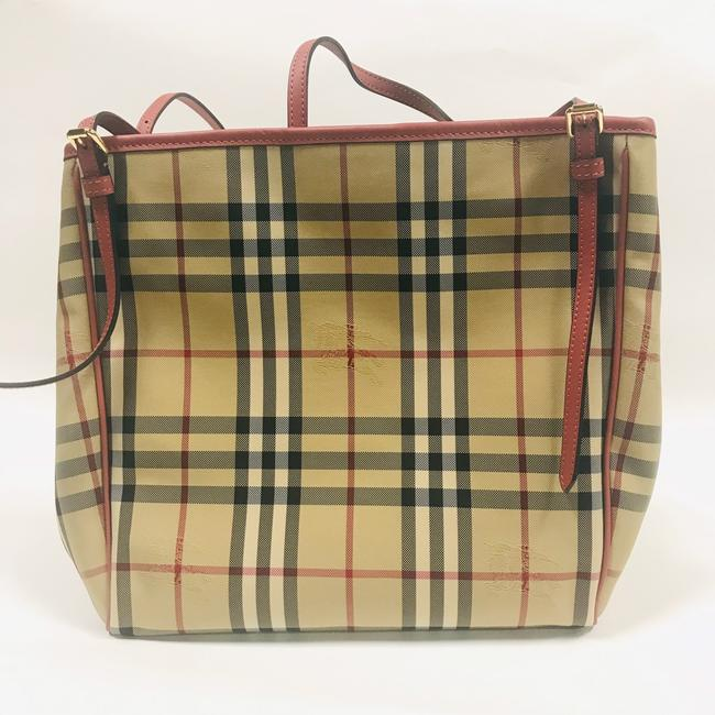 Item - Canterbury Tote Horseferry Check Small Honey Rose Leather Baguette