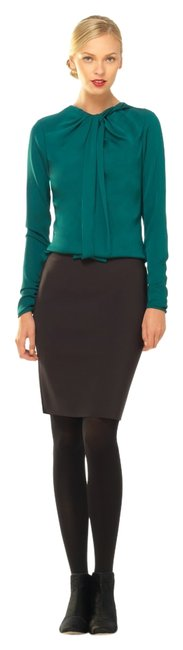 Max Studio Silk Fitted Dryclean Only Stretchy Detail Top Teal