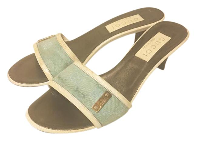 Item - Grey/Blue Gg Logo Classic Leather and Canvas Sandals Size US 6 Regular (M, B)