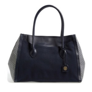 Tory Burch Navy Canvas Leather Tote Satchel in Blue