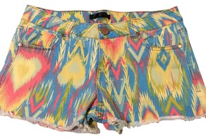 Fire Los Angeles Cut Off Shorts pink blue yellow