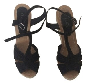 Rubi Black /Tan Wedges