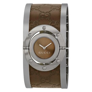 Gucci Gucci Twirl Swiss SS and Brown Leather Bangle Authentic Ladies Watch