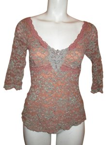 Ann Ferriday Lace Stretch Top pink & green