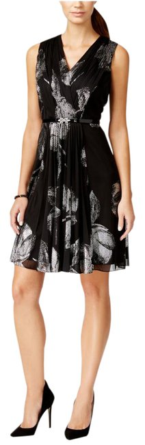 Item - Black/Silver Black/Silver Pleated Sleeveless Fit & Flare Short Cocktail Dress Size 14 (L)