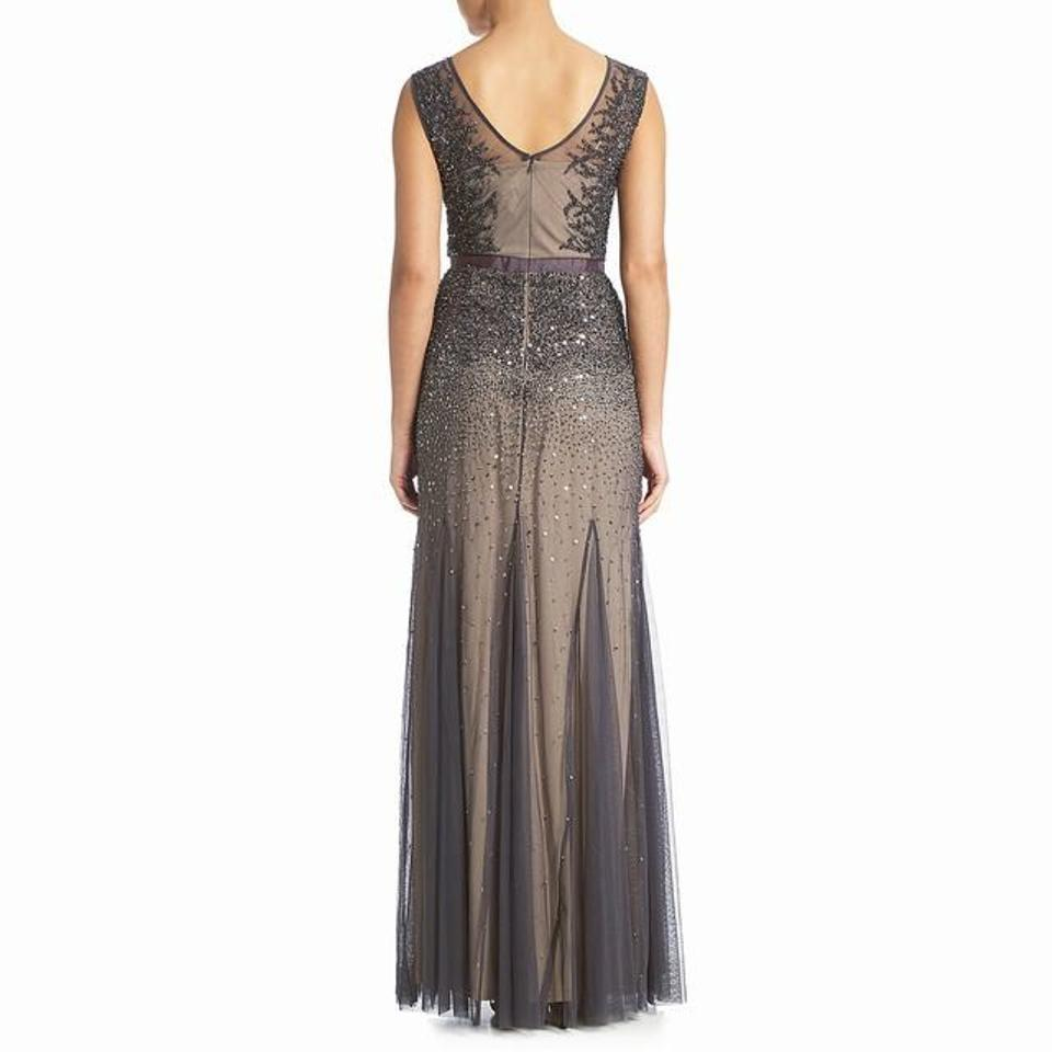 top fashion wholesale sales best sell Adrianna Papell Gunmetal Sleeveless Beaded Illusion Gown Long Formal Dress  Size Petite 6 (S) 50% off retail