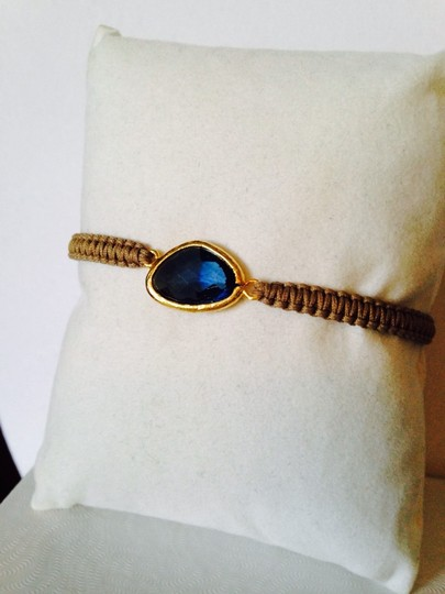Tai Faceted Blue Crystal Woven Cord Adjustable Bracelet Image 1