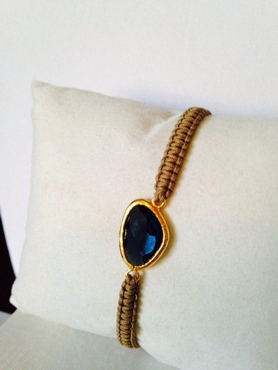 Tai Faceted Blue Crystal Woven Cord Adjustable Bracelet