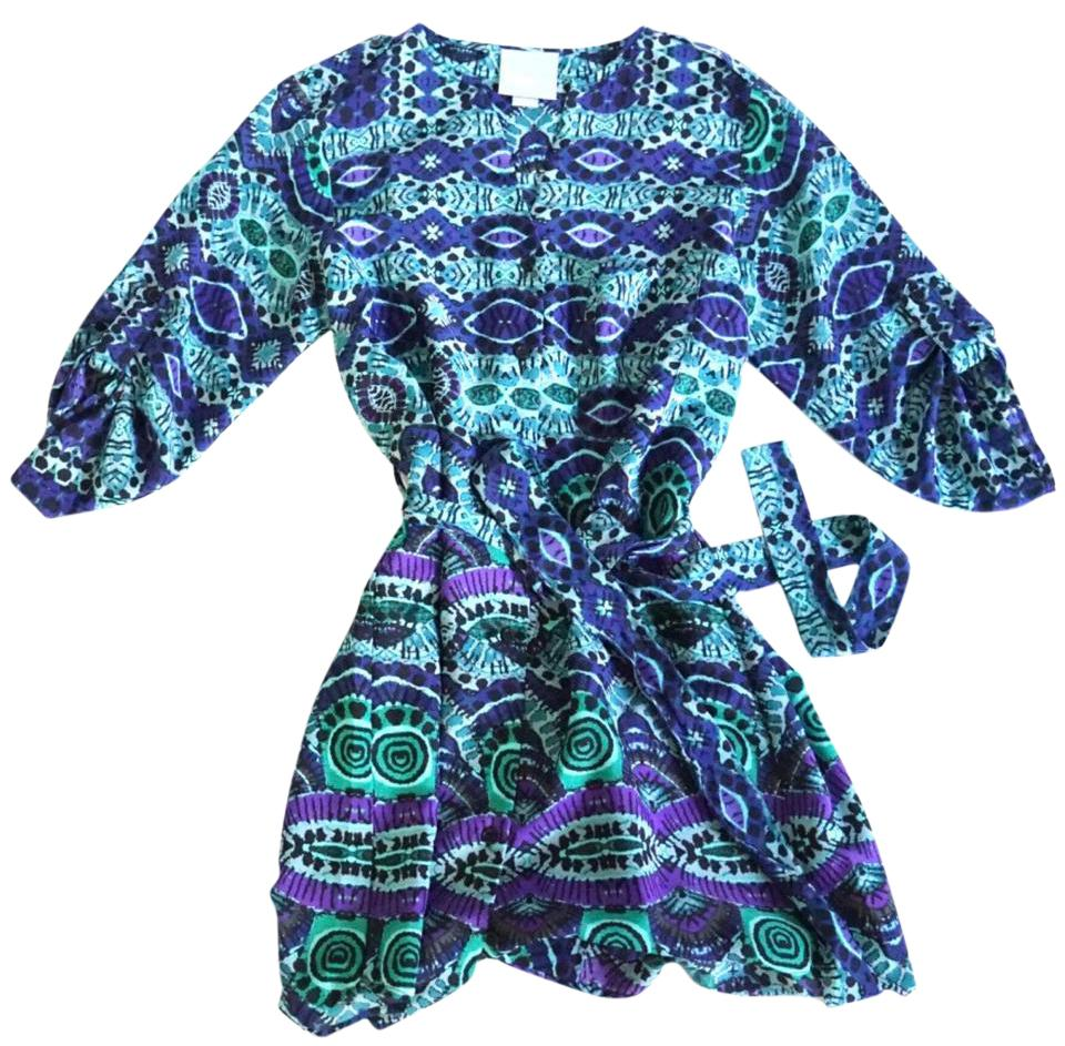 15022b0dff983 Anthropologie Blue Green Purple Printed Button Down Short Casual Dress. Size:  0 ...