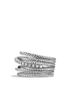 David Yurman David Yurman Crossover Ring with Diamonds ss polished silver